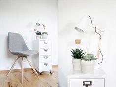 modern retro Workspace black and white / Chair, Lamp rolling drawer by tchibo / Arbeitsplatz Stuhl, Rollcontainer und Lampe von Tchibo