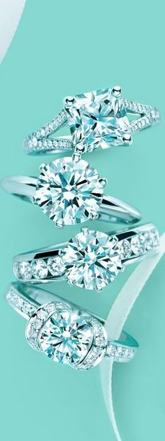 Tiffany diamond rings, I'm not saying yes unless it's from Tiffany's! Me gustan los diamantes. Tiffany Et Co, Tiffany Blue, Tiffany Engagement, Engagement Rings, Wedding Engagement, Tiffany Wedding, Bling Bling, Pierre Turquoise, Tiffany Jewelry