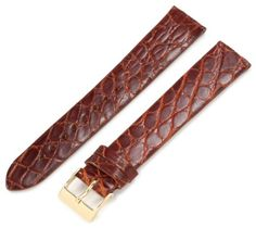 Artisan of Italy CITG500-0318ML Men's Classic Ultra-Thin Crocodile 18mm Tan Long Watch Strap -- You can find out more details at the link of the image.