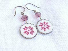 Tribal earrings Ethnic cross stitch geometrical flower by skrynka