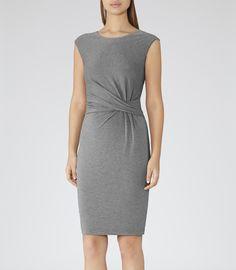 Womens Grey Melange Wrap-detail Dress - Reiss Costa Plain
