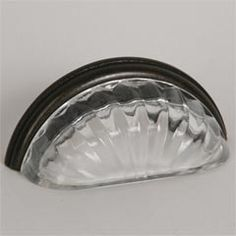 """Lew's Hardware [46-301] Glass Cabinet Cup Pull - Melon - Transparent Clear - Oil Rubbed Bronze Base - 3"""" C/C - 3 3/4"""" L"""