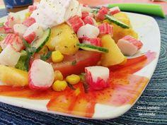 Cinco sentidos na cozinha: Salada de delicias do mar com pêssego, alface  e m...