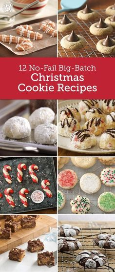 12 No-Fail Big-Batch Christmas Cookie Recipes - Making Christmas cookies for a crowd or hosting a holiday cookie exchange? These easy big-batch recipes mean more cookies and less work! Köstliche Desserts, Holiday Desserts, Holiday Baking, Holiday Treats, Holiday Recipes, Dinner Recipes, Christmas Recipes, Holiday Foods, Christmas Deserts