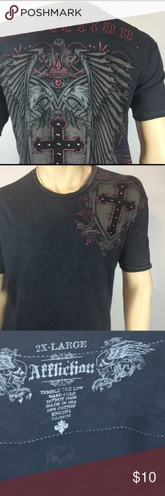 Men's graphic T-Shirt - Michael Kors size 2XL This T-shirt features an aged design. It is not for those looking for the new T-Shirt look. It is stylish comfortable and has that casual vibe. It is in good condition. Affliction Shirts Tees - Short Sleeve