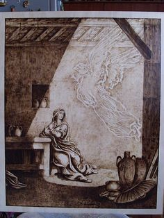 L'Annunciazione (pirografia - pyrography) 0 flickr link stupendously done
