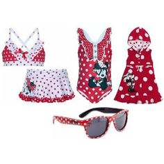 Disney Store Minnie Mouse 4-Piece Red and White Polka Dot Swimwear Gift Set for Youth Girls Size XS 4 with 2-Piece Bikini Swimsuit, 1-Piece Bathing/Swim Suit, Hooded Cover Up Hoodie Dress and Matching Sunglasses