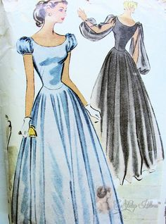 1947 Romantic Dreamy Evening Dress Pattern Full Dancing Skirt, Bishop Sleeves or Short Puff Pure Glam McCall 7013 Vintage Sewing Pattern Bust 32