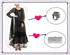 Silver ring and Silver clutch to make that Black Silver anarkali shine!