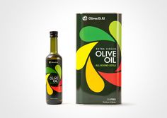 OEA Olive Oil  Designed by Salad Creative | United Kingdom  Colourful, fun packaging forDorset-based Olives Et Al olive oil.