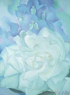 Georgia O'Keeffe - White Rose with Larkspur No. 2, 1927