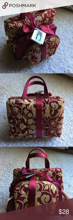 💠🆕BRAND NEW 3-piece handbag purse makeup set NWT 💠🆕BRAND NEW 3-piece handbag purse cosmetic makeup set NWT!! Large one has handles and double zipper, two small ones perfect as a clutch or a makeup bag. These can be the perfect gift for the holidays! Beautiful maroon red and gold color! Bags