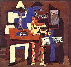 Los tres músicos  A primera vista podría parecer un collage pero es una famosa pintura de Pablo Picasso, los Tres Músicos en realidad es una pintura al óleo. Completada en 1921, pintó dos pinturas muy similares que se refieren mutuamente a los Tres Músicos y puede ser encontrada en el MoMa de Nueva York y el museo de arte de Filadelfia.