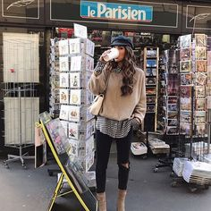 Via @simply_the_best_fash 😻 @negin_mirsalehi 🔝📸  .  .  .  #morning #coffee #coffeetime #coffeebreak #lovecoffee #takeaway #cap #sweater #shirt #pants #blackpants #ootd #outfit #outwear #wearing #wiwt #todaystyle #ankleboots #citystyle #parisian #paris #cityfashionblogger