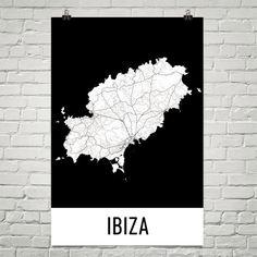 Ibiza Map, Ibiza Art, Ibiza Print, Ibiza Spain Poster, Ibiza Wall Art, Ibiza Gift, Map of Ibiza, Ibiza Poster, Ibiza Decor, Ibiza Map Art