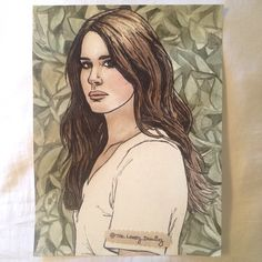 "Lana Del Rey. 9"" x 11"" watercolor paper. Winsor & Newton watercolors. 2014. By: Marissa Asal (The_Lovely_Drawing on Instagram)"