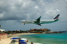 Noisy Beach - An Air France jet making a landing at the airport by Maho Beach, St. Maarten.
