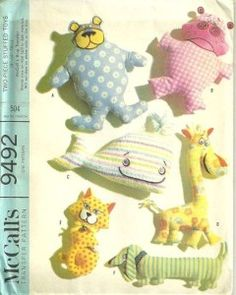 60s Stuffed Animal Toys Pattern Giraffe Whale and More McCalls 9492 Vintage Sewing Pattern by patterngate.com