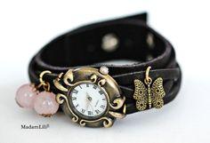 Rozenkwarts© Unieke armband Horloge van het Leer