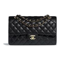 cd7aa8bb3 Classic Handbags, Shoulder Bag, Chanel, Metal, Gold, Black, Clothes,