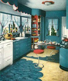 A mid-1940s blue kitchen.