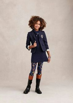 Fun, riding-inspired motifs add a festive flair to printed leggings and cute quilted jackets. kids fashion and school style. Ralph Lauren Enfants, Ralph Lauren Kids, Tween Fashion, Little Girl Fashion, Look Girl, Little Fashionista, Stylish Kids, Kid Styles, Kind Mode