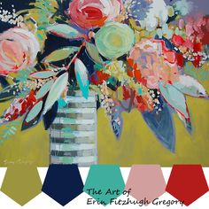 still life paintings - paintings by erin fitzhugh gregory Paintings I Love, Colorful Paintings, Floral Paintings, Art Floral, Erin Gregory, Abstract Canvas Art, Fine Art Gallery, Painting Inspiration, Flower Art