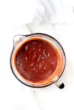 Easy, lip-smacking good healthy homemade enchilada sauce in just 10 minutes! Vegan, gluten free and paleo-friendly. Use this instead of the canned stuff.