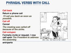 "hellolearnenglishwithantriparto: "" Phrasal verbs with ""CALL"" #learnenglish """
