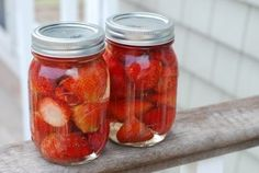 """Strawberries in Vanilla Simple Syrup.....wash & hull---pack into mason jars to full but not crushing each other---over low heat dissolve 3 c. water with 1 c. sugar and a vanilla bean to make syrup---cool syrup to room temperature---pour syrup into jars with a cup with a spout---fill to 1"""" of air space before lid---close and freeze----(delicious over ice-cream, pound cake, cheesecake, coctails)"""