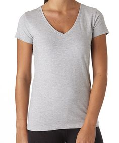 Women's Heather Grey Everyday V-Neck Tee. Super soft organic cotton basics in classic colors for any day of the week!