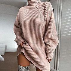LightInTheBox - Παγκόσμιες Online Αγορές για Φορέματα, Σπίτι & Κήπος, Ηλεκτρονικά Προϊόντα, Ένδυση Γάμου Grey Sweater Dress, Long Sleeve Sweater Dress, Long Sleeve Turtleneck, Ribbed Turtleneck, Sweater Dresses, Cotton Sweater, Oversized Sweater Dress, Knit Dress, Oversized Sweater Outfit