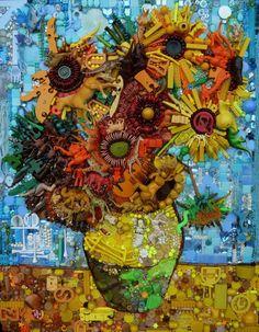 Des tableaux célèbres recréés avec de vieux objets. / Famed paintings recreated with old found objects. / Les tournesols de Van Gogh.