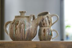 Teapot and Two Cups. Wheel-thrown stoneware made by me, Cherie Giampietro.  @ceramicdesignbycherie
