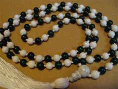 6mm Dark Green Aventurine and Riverstone with a Howlite Guru Bead, Hand Knotted on White Silk by Mother Earth Malas - Malas on Silk