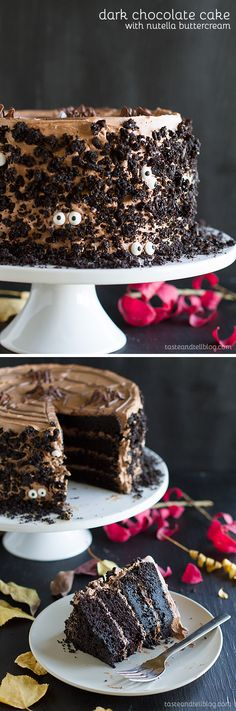 Dark Chocolate Cake with Nutella Buttercream - Dark and rich, this Dark…