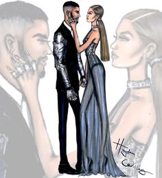 Hayden Williams Fashion Illustrations-Zayn Malik in custom Versace & Gigi Hadid in Tommy Hilfiger
