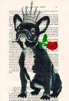 Drawing portrait paintings Illustration Giclee Prints Posters Mixed Media Art Acrylic Painting Holiday Decor Gifts:  The French bulldog king