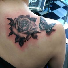 Realistic Rose and Butterfly Tattoo
