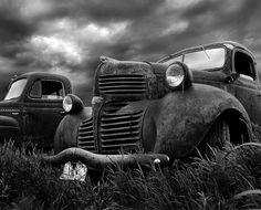Dodge truck in black and white....