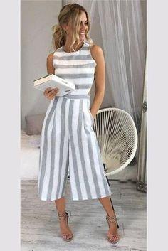 Striped Scoop Sleeveless Tee Length Jumpsuit