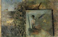 Georges Seurat: 1881 Landscape with Copy after 'Le Pauvre Pecheur'