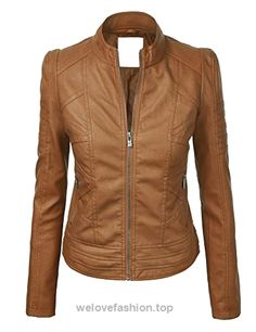 LL WJC746 Womens Vegan Leather Motorcycle Jacket S CAMEL  BUY NOW     $64.27    Womens Faux Leather Zip Up Moto Biker Jacket with Stitching DetailLightweight Assorted colors HAND WASH ONLY / NO BLEACH / LINE DRY Please check the size chart below  ..