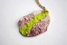 Sea Shell Necklace Pendant - Neon Lime Acid Green Striped, via Etsy.