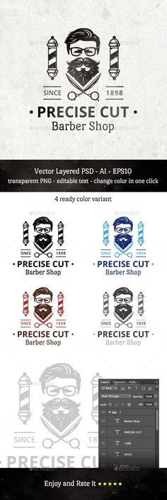 Precise Cut Barber Shop Logo Template PSD, Vector EPS, AI. Download here: http://graphicriver.net/item/precise-cut-barber-shop/15021621?ref=ksioks