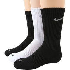 Nike Dri-Fit Cushion Crew 3-Pair Pack Women's Crew Cut Socks ($15) ❤ liked on Polyvore featuring intimates, hosiery, socks, multi, cuff socks, dri fit socks, crew cut socks, nike and crew length socks