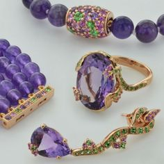 Set by Isabelle Langlois gold amethyst gold necklace ring bling. Gift wife girlfriend lover daughter mother