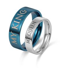 """Christmas Gifts For Women  and Men - 316L Stainless Steel """"MY QUEEN"""" and """"MY KING"""" Couple Promise Rings"""