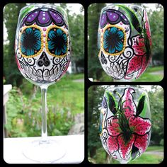 Hand painted sugar skull and star gazer lily by ArianaVictoriaRose, $23.00