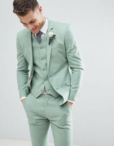 Find the best selection of ASOS DESIGN wedding super skinny suit jacket in sage green linen. Shop today with free delivery and returns (Ts&Cs apply) with ASOS! Green Wedding Suit, Sage Green Wedding, Wedding Dress Men, Wedding Tuxedos, Mens Casual Wedding Suits, Wedding Poses, Summer Wedding Suits, Wedding Venues, Green Suit Men